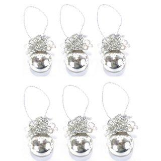 nostalgische Bauernsilber Glasanhänger kleine Kugel mit Glasperlenblüten Preis für 6 Stück