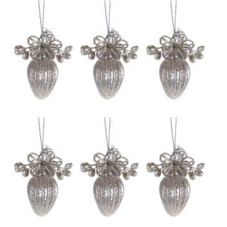 nostalgischer Glasanhänger kleiner Zapfen champagner matt mit Glasperlenblüten Preis für 6 Stück