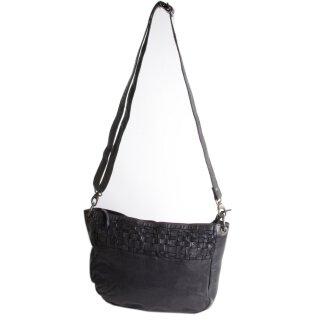 Damen-Schultertasche Echt-Ledertasche BEAR schwarz mit längenverstellbarem Schultergurt