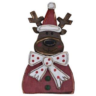 ausgefallener dekorativer winterlicher Deko-Elch Reindeer aus Holz im Used-Look