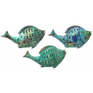 Metallfigur Fisch als Windlicht in 3 möglichen Farben
