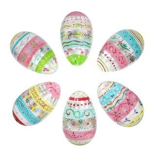 dekorative ausgefallene große Deko Ostereier aus Holz bunt bemalt in Pastellfarben und etwas Silber Preis für 3 Stück