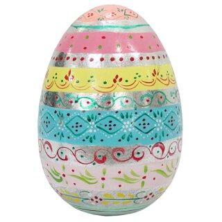 Extra großes dekoratives ausgefallenes Deko Osterei aus Holz bunt bemalt in Pastellfarben und etwas Silber