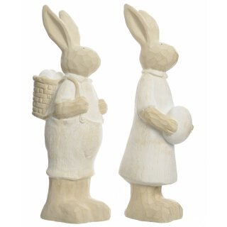 großer frühlingshafter Deko-Hase Osterhase als Hasen-Paar aus Keramik cremefarbig Preis für 2-er Set