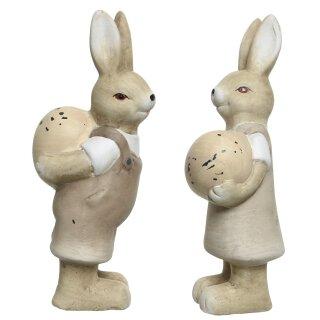 frühlingshafter Deko-Hase Osterhase als Hasen-Paar aus Keramik cremefarbig Preis für 2-er Set