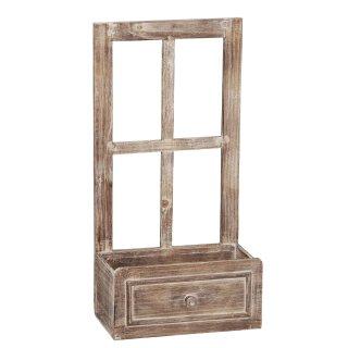 kleines Holz-Deko-Fenster Fensterrahmen mit offenem Fach in Schubkasten-Optik im Landhausstil braun