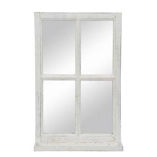 Deko-Fenster Fensterrahmen mit Ablagebrett und Spiegel Holz im Landhausstil weiß shabby