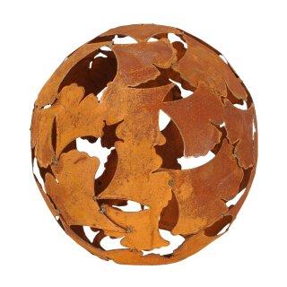 dekorative Deko-Kugel Garten-Kugel Ginkgo Metall rostig dm= 35 cm
