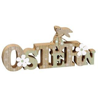 dekorativer Schriftzug Ostern mit Hase und Blume als ausgefallene Osterdeko