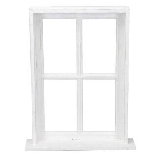 Deko-Fenster Fensterrahmen mit Rahmen und Ablagebrett Holz im Landhausstil weiß shabby