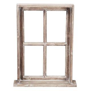 Deko-Fenster Fensterrahmen mit Rahmen und Ablagebrett Holz im Landhausstil braun shabby
