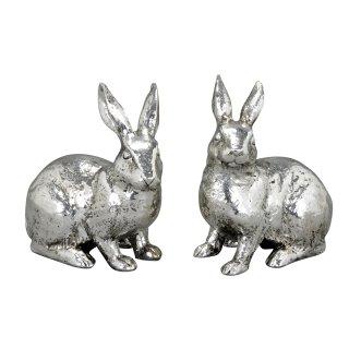 174c7128cb frühlingshafte Deko-Hasen hockende Osterhasen Moppelchen in altsilber Preis  für 2 Stück