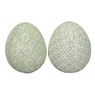 dekoratives frühlingshaftes mittleres Deko-Ei Keramik-Ei Osterei mit Ornamentstruktur grün weiß Preis für 2 oder 4 Stück