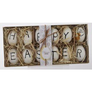dekorative Oster- Anhänger-Ei echte Eier Happy Easter Set mit 12 Stück