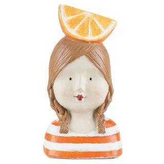 Dekokopf Ladykopf mit Orange