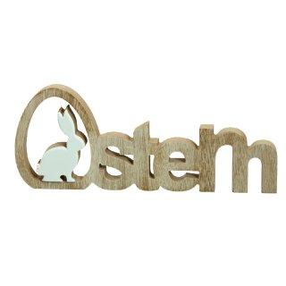 dekorativer Schriftzug Ostern Hase in braun-weiß