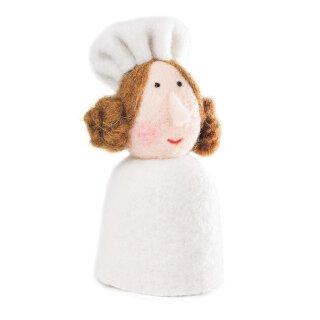 Eierwärmer Köchin mit Kochmütze und Haardutts