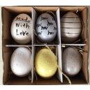 dekorative Oster- Anhänger-Ei echte Eier Set mit 12 Stück