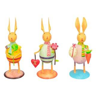 putziger bunter Osterhase mit Lolli/Blume+Herz/Möhre+Ei Metall von Hand bemalt Preis für 1 Stück