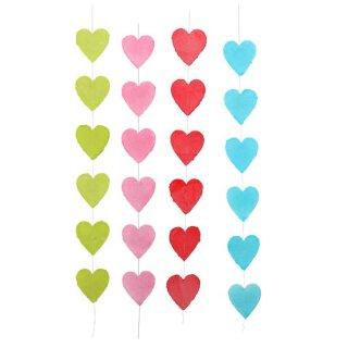 Girlande Herzen aus handgeschöpftem Papier am Faden ca. 20 x 20 cm in verschiedenen Farben