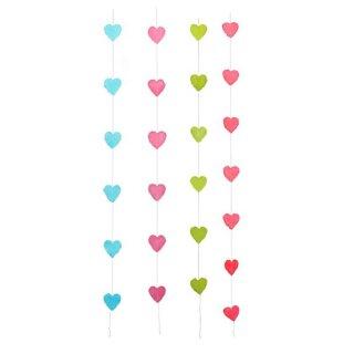 Girlande Herzen aus handgeschöpftem Papier am Faden ca. 9 x 9 cm  x 150 cm lang in verschiedenen Farben