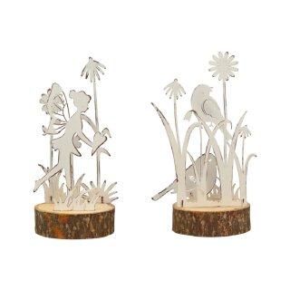 dekoratives ausgefallenes Deko-Objekt mit Elfe und Vogel Metall shabby weiß Preis für 2 Stück