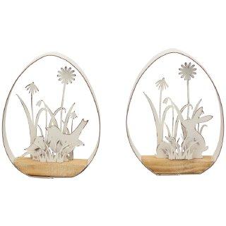 dekoratives ausgefallenes Osterei Deko-Ei mit Hase oder Vogel Metall shabby weiß Preis für 1 Stück
