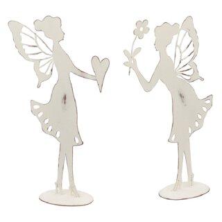 dekorative ausgefallene Deko-Figur Elfe Metall shabby weiß Preis für 1 Stück