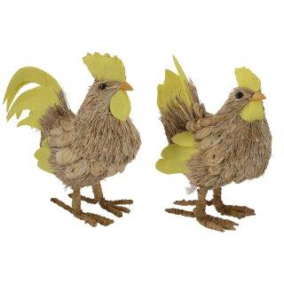 frühlingshafter Deko-Hahn und Deko-Huhn aus Gras Preis für 2 Stück