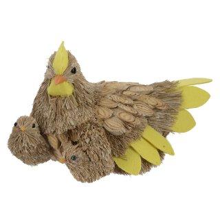 frühlingshafte Deko-Henne mit Küken aus Gras