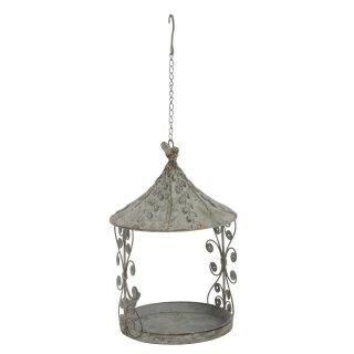 dekoratives nostalgisches Vogelfutterhaus zum Hängen Metall graubraun antik