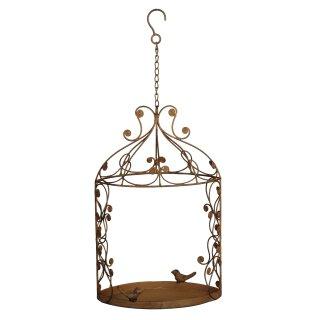 dekoratives nostalgisches Vogelfutterhaus zum Hängen Metall braun antik