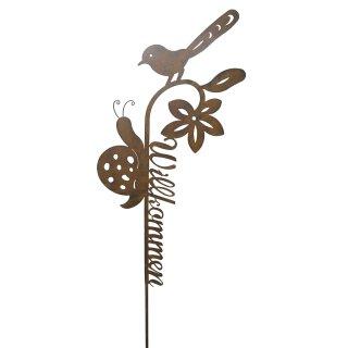 großer ausgefallener Gartenstecker Willkommen mit Blume Schnecke und Vogel Metall edelrostig