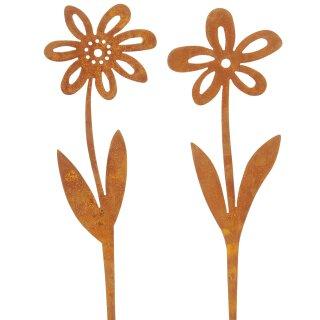 dekorative Gartenstecker Beetstecker Blume als Silhouette Metall edelrost Preis für 2 Stück