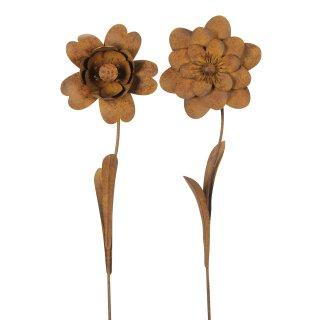 großer ausgefallener Gartenstecker Beetstecker Blume Metall edelrostig Preis für 1 Stück