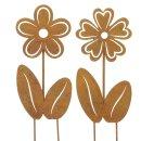dekorative Gartenstecker Beetstecker Blume als Silhouette...