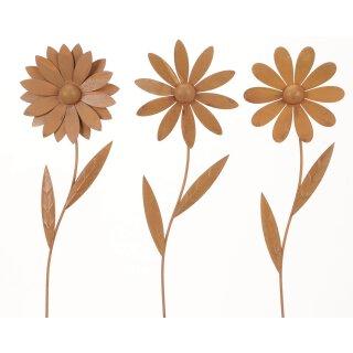 dekorative Gartenstecker Beetstecker Blume Metall edelrost Preis für 3 Stück