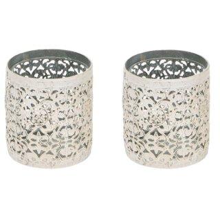 dekoratives Tischwindlicht in cremeweißer shabby Landhaus-Optik Preis für 2 Stück