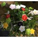 dekorative fröhlich bunte Mini-Blütenpicks Mini Blumen-Stecker kleiner Blütenkelch in 6 Farben sortiert