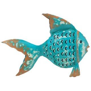 Metallfigur Fisch als Windlicht zum stellen