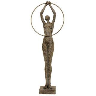 dekorative Figur Frau mit Reif Bronzeoptik