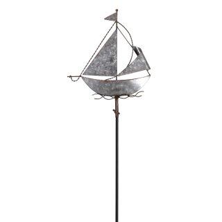 dekorativer maritimer Garten-Stecker Deko-Stecker Segelboot Metall silberfarbig verzinkt