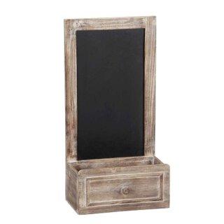kleines Holz-Deko-Fenster Fensterrahmen mit offenem Fach in Schubkasten-Optik und Tafel im Landhausstil braun