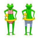 Froschfigur im geringelten Badeoutfit Preis für 1...
