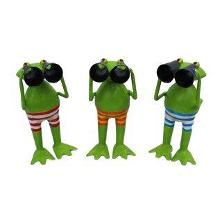 lustiger kleiner Metall-Frosch Spannerfrosch Froschfigur mit Fernglas Preis für 2 Stück