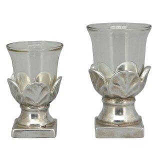 dekoratives Tisch-Windlicht Garten-Windlicht shabby silber Vintage Optik in 2 möglichen Größen