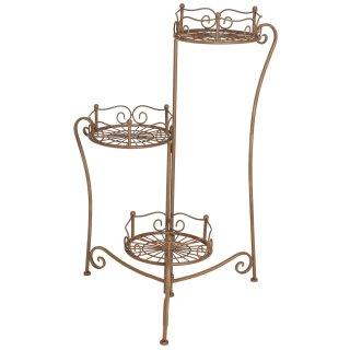 dekorative Pflanz-Etagere als 3-er Ständer aus Metall mit 3 Stellflächen