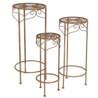 dekorative Pflanztische Beistelltische als 3-er Set aus Metall im schnörkeligen Landhausstil