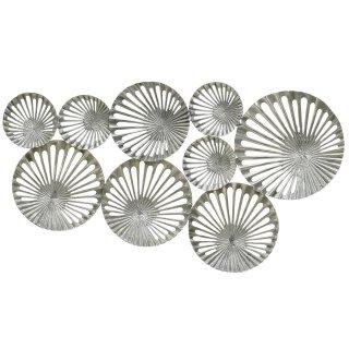 Wanddeko Objekt Aus Metall Mit Durchbrochener Riffeloptik Silber