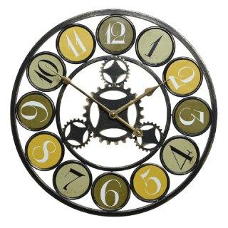 ausgefallene dekorative Wanduhr Deko-Uhr Metall schwarz-bronze mit gelb-grün